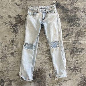 Rare unif denim distressed jeans ankle cut 25